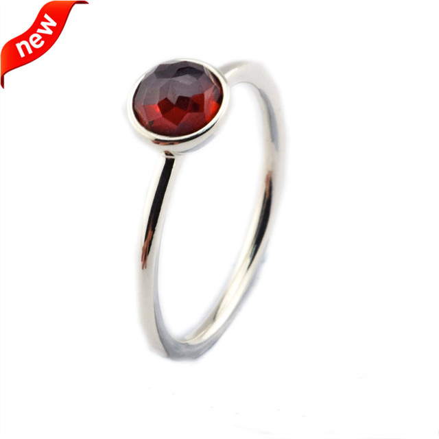 DIY Fits European Jewelry CKK 925 Sterling Silver Rings for Women Birthstone January Droplet Silver Ring with Garnet Crystal