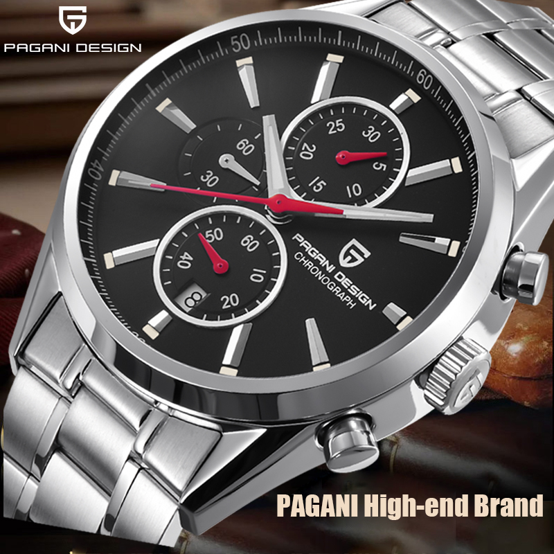 Men's Watches PAGANI DESIGN NEW Top Luxury Black Dial Quartz Watch Men Business Fashion Sports Chronograph Relogio Masculino