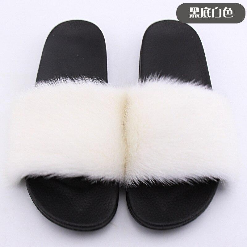 womens raccoon fur slipper beach sandals real fur slides anti