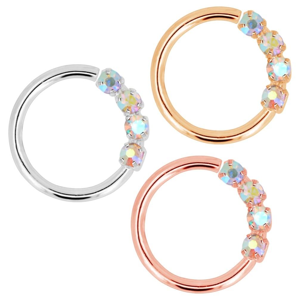 Купить кольцо в виде кольца для носа 18 г гибкие серьги с блестящими