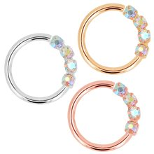 Body Punk 18g Nose Ring Hoop Bendable Earrings Sparkling Clear Blue CZ Helix Daith Tragus Cartilage Earrings for Women Men