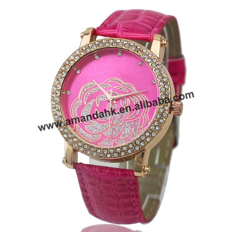 New Fashion new style double rhinestone watches hot leather rose flower watch women dress quartz fashion wristwatches   Fotoflaco.net