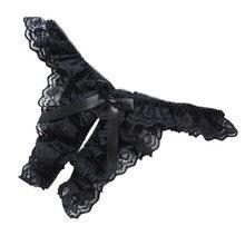 Секс-игрушки эротические сексуальные Шнуровка с бантиком стринги T-Back трусики открытые сбоку Для женщин Нижнее белье o70408 Прямая поставка