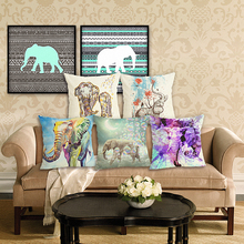 RECOLOUR HOT sale linen  animal Elephant Pillow covers Throw Pillows Sofa living room Home farmhouse Decorative pillows