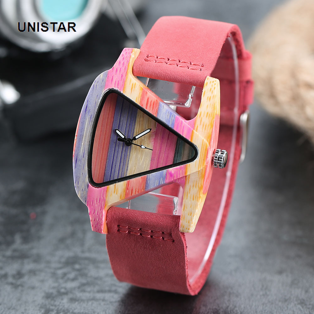 UNISTAR Fashion Luxury Newest Color Of Bamboo Wooden Watches Genuine Leather Quartz Cool Gift For Girl