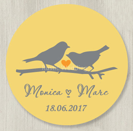 Custom Wedding Stickers Love Birds Favor Labels Mason Jar Label Personalized Gift