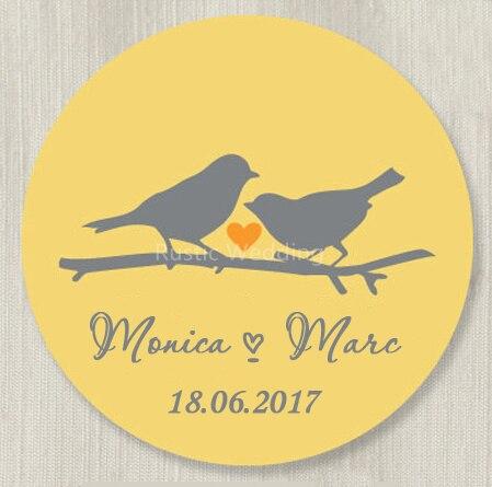 Custom Wedding Stickers Love Birds Favor Labels Mason Jar Label
