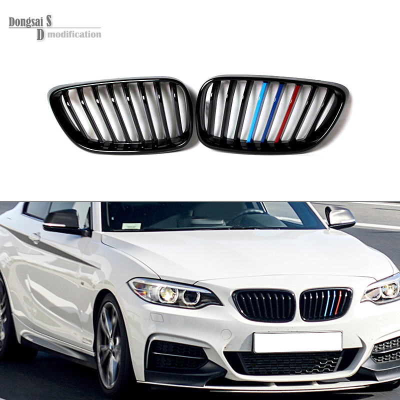 2014 + 2 Series 218i 220i 228i 235i Car styling ABS front kidney Racing grill Gloss M Tri-color grille for BMW F23 F22 F87 M2 e70 black abs kidney racing grille for bmw 2007 2013 x5 series e70