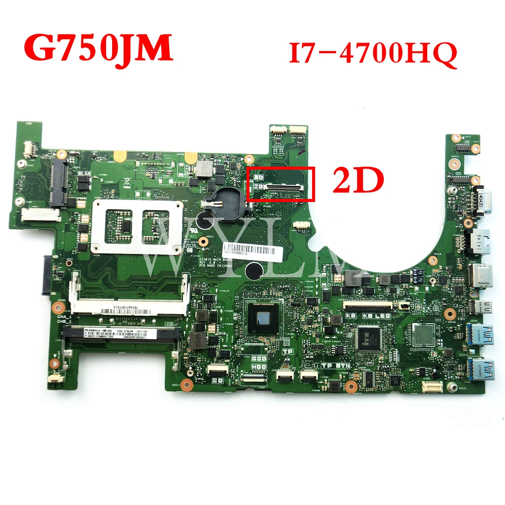 G750JM With i7-4700HQ CPU 2D mainboard for ASUS G750J G750JS laptop motherboard MAIN BOARD 60NB04J0-MB1030 free shipping