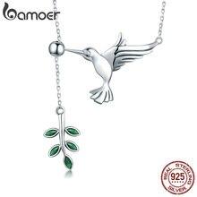 d23d100cb8f5 BAMOER auténtica Plata de Ley 925 primavera pájaro y árbol hojas pendientes COLLAR  COLGANTE para las mujeres joyería de plata SC.