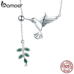 BAMOER Authentic 925 Sterling Silver Spring Bird & Tree Leaf Leaves Dangle Pendant Necklace for Women Silver Jewelry SCN217