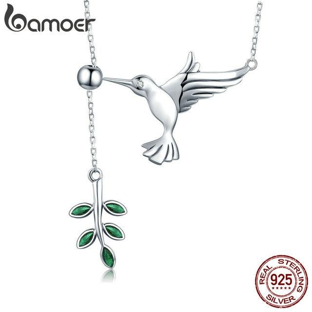 BAMOER Authentic 925 Sterling Silver Spring Bird & Árvore Folhas Dangle Colar Pingente para As Mulheres Jóias de Prata SCN217