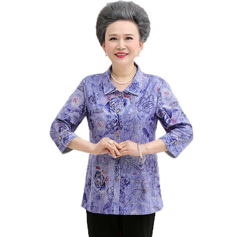 Women's Clothing Elderly Women Flower Shirts Elderly Lady Oriental Top Red Blue Flower Pattern Blouses Grandma Mother Elegant Silk Shirt Spring