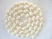 Wholesale 5 Strands 7 5mm White Rice Freshwater Pearl Beads