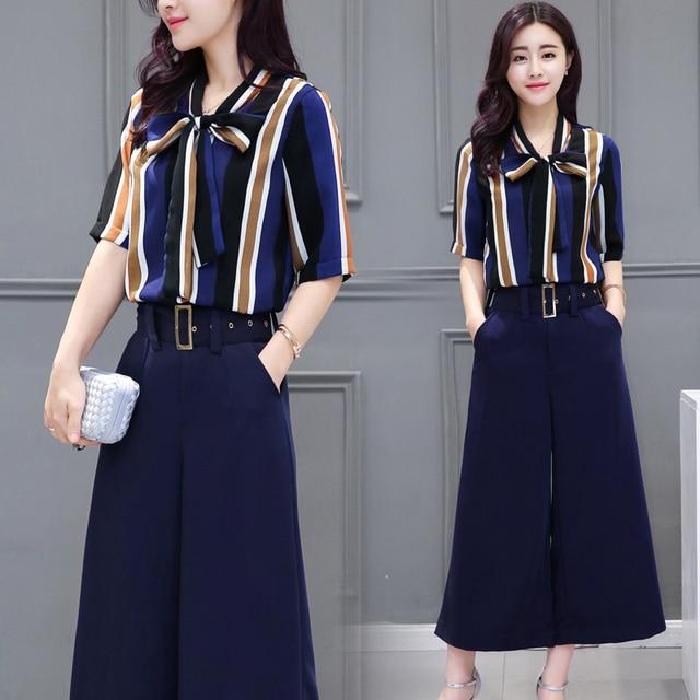 New Fashion 2016 Women's Clothing Summer Dress Stripe Printing Shirts + Wide-legged Pants  Two-piece Set Casual Plus Size Female