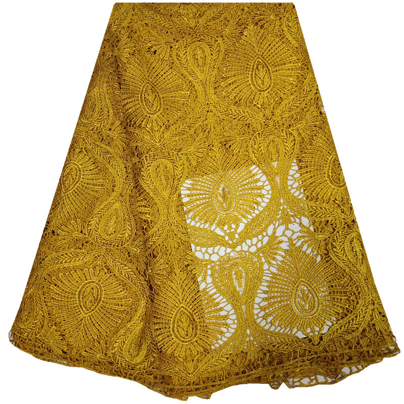 Water Soluble African Cord Lace 2018 Gold Nigerian Laces Embroidery Fabric Lace For Wedding Party Dress