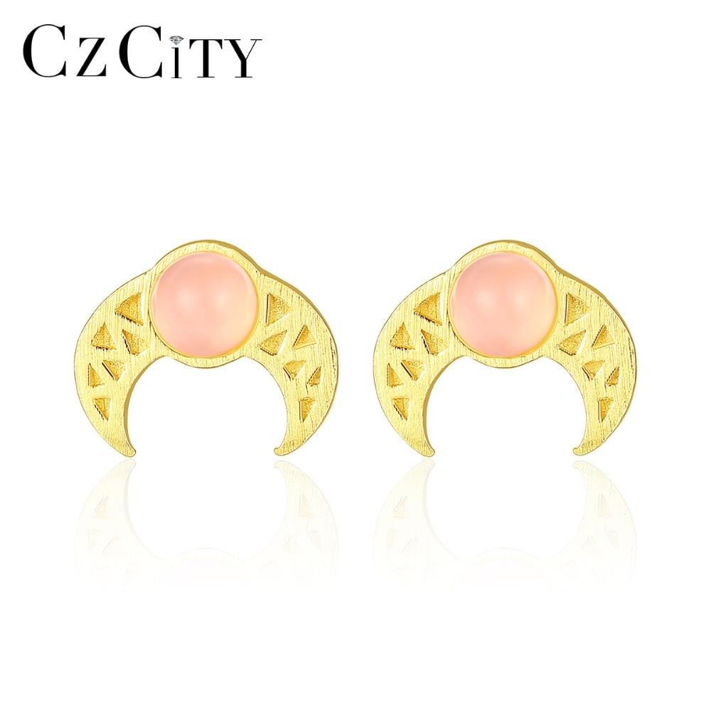 CZCITY Stud-Earrings Crystal Fine-Jewelry 925-Sterling-Silver Women Genuine Geometric