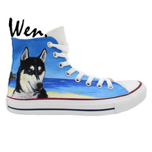 Wen Design Custom Shoes Original Hand Painted Pet Dog Husky Beach Men Women's High Top Canvas Sneakers for Gifts