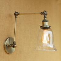 Modern Vintage Loft wall light Industrial CLEAR GLASS lampshade free adjust long swing arms for bedroom restaurant bar E27 220v