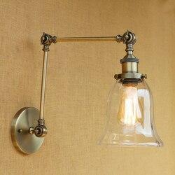Nowoczesne Vintage Loft ściana światło przemysłowe z przezroczystego szkła klosz darmowa ustawić długie ramiona huśtawka dla sypialnia restauracja bar E27 220 v