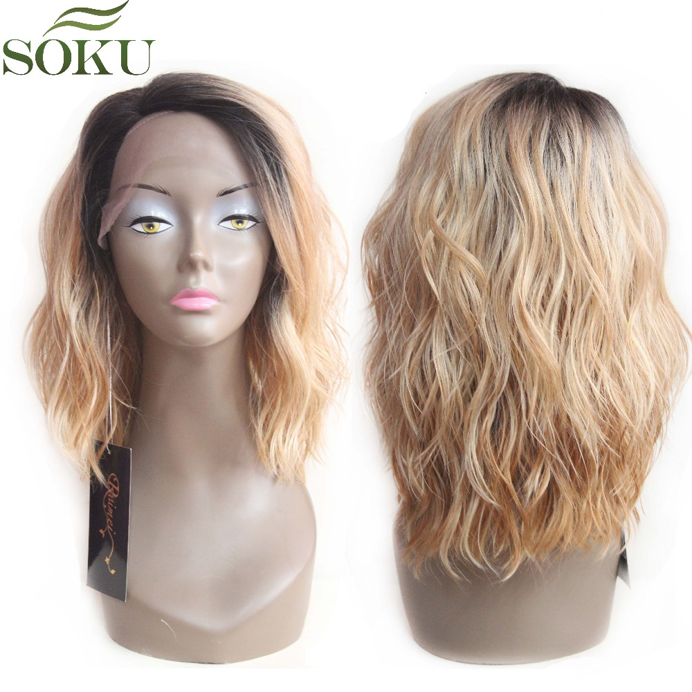 SOKU Synthetic Lace Front Wigs Ombre Blonde Natural Wave Short Bob Wigs Shoulder Length Deep Invisible Side L Part Wig For Women(China)