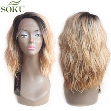 SOKU Synthetic Lace Front Wigs Ombre Blonde Natural Wave Short Bob Wigs Shoulder Length Deep Invisible Side L Part Wig For Women недорого