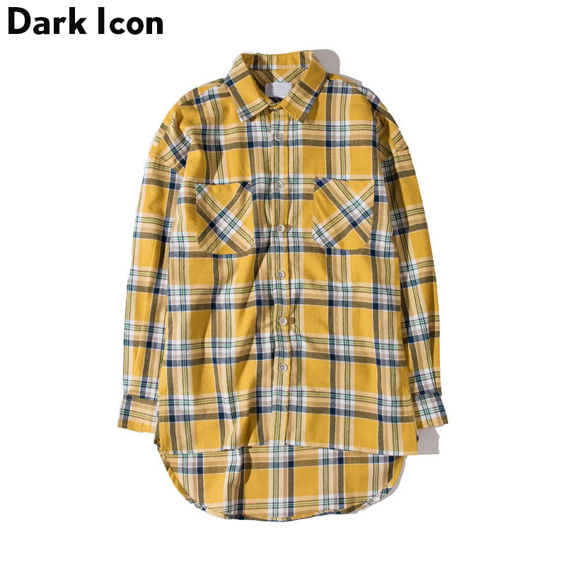DARK ICON 플란넬 체크 무늬 셔츠 남성용 힙합 셔츠 2018 Streetwear Oversized Curved Hem Hipster Men 's Shirt Long Sleeve 2 Yellow
