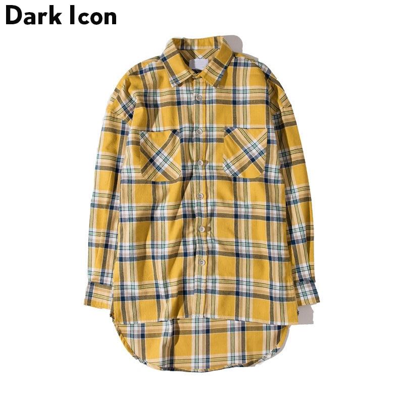 DARK ICON Flanela Xadrez Camisa Dos Homens Camisa de Hip-hop 2018 Streetwear Oversized Curvo Hem Hipster Camisa dos homens de Manga Longa 2 Amarelo