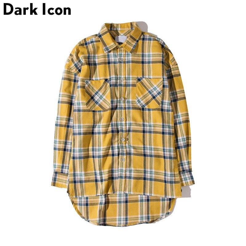 DARK ICON Flannel Plaid Shirt Men Hip-hop Shirt 2019 Streetwear Oversized Curved Hem Hipster Men's Shirt Long Sleeve 2 Yellow