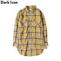 Plaid Hip Hop Shirts Men 2016 Streetwear Front Short Back Long Flannel Curved Hem Mens Shirt