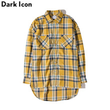 DARK ICON Flannel Plaid Shirt Men Hip-hop Shirt 2018 Streetwear Oversized Curved Hem Hipster Men's Shirt Long Sleeve 2 Yellow(China)