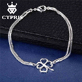 SALE Promotion silver Bangle Bracelet Clover lucky plant Flower Hot Wholesale women lady Price Freeshipping Factory Direct Sale