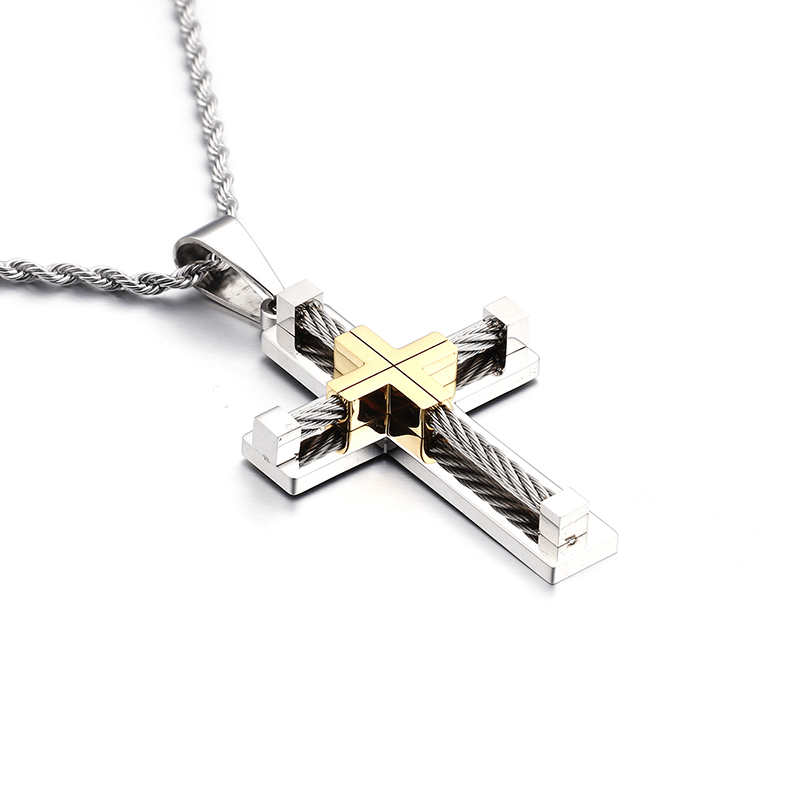 silver / gold /black Stainless Steel Wire Chain Cross crucifix ...