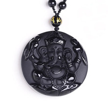 Natural Black Obsidian Carved Ganesh Elephant Lucky Pendants Free Necklace Fine Stone Crystal Fashion woman man Amulet Jewelry все цены
