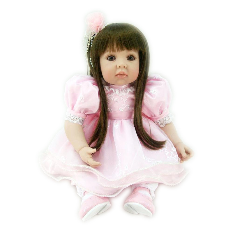 Soft Doll Reborn 20 inch Silicone Vinyl Reborn Girl Doll in Pink Dress with Bright Brown
