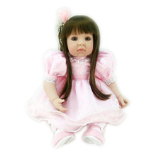 Soft Doll Reborn 20 inch Silicone Vinyl Reborn Girl Doll in Pink Dress with Bright Brown Eyes Princess Doll Toy for Girls