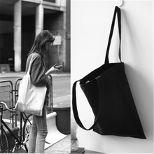 Original cloth foldable bag white and black women shoulder bags cotton canvas handbag fresh art laies bags