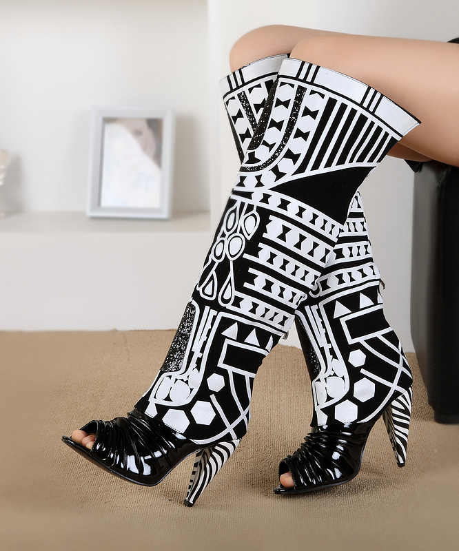 Fall Women knee-high Black and White Mixed Color Boots Peep Toe High Heel Fashion Outside Shoes Big size rakesh kumar tiwari and rajendra prasad ojha conformation and stability of mixed dna triplex