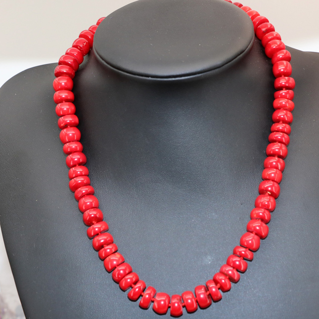 Free shipping natural red coral abacus 8x12mm beads necklace for women gifts choker chain high quality jewelry 20inch B2916