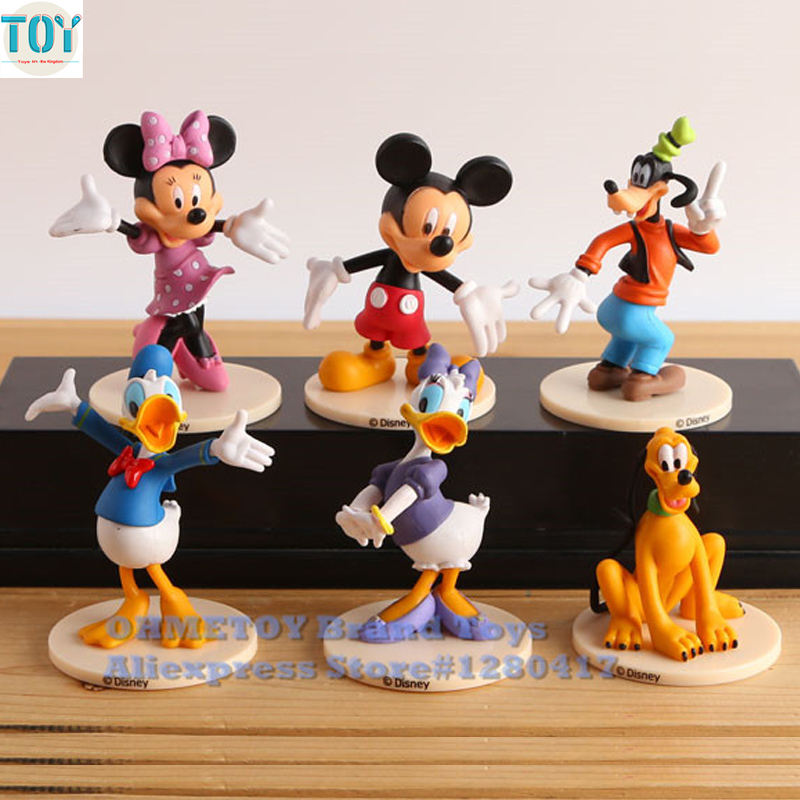 Official Website Ohmetoy 6pcs Mickey Minnie Mouse Toys Goofy Donald Duck Mini Action Figure Doll Cake Toppers Kids Girl Birthday Gift Elegant In Smell Action & Toy Figures