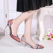 Free shipping fashion thin high-heeled shoes pointed toe women's Mixed colors Woven single shoes