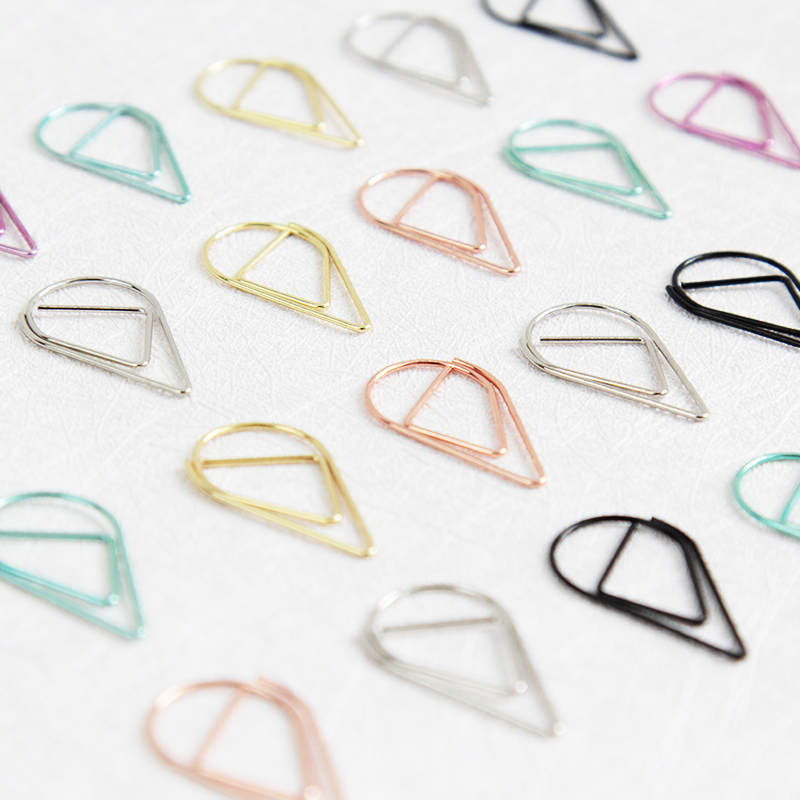 20PCS Teardrop Paperclips,  Smart Golden Paper Clips Planner Binder Accessories, Pages Clip Silver Black Mint Rose Lilac