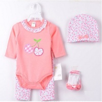 Cherry Pink Baby Girls Bodysuits Pant Suit Long Sleeve Bebe Clothing Set 4-pieces Suits Girl\'s Beanie Outfits 100% Cotton Hot!