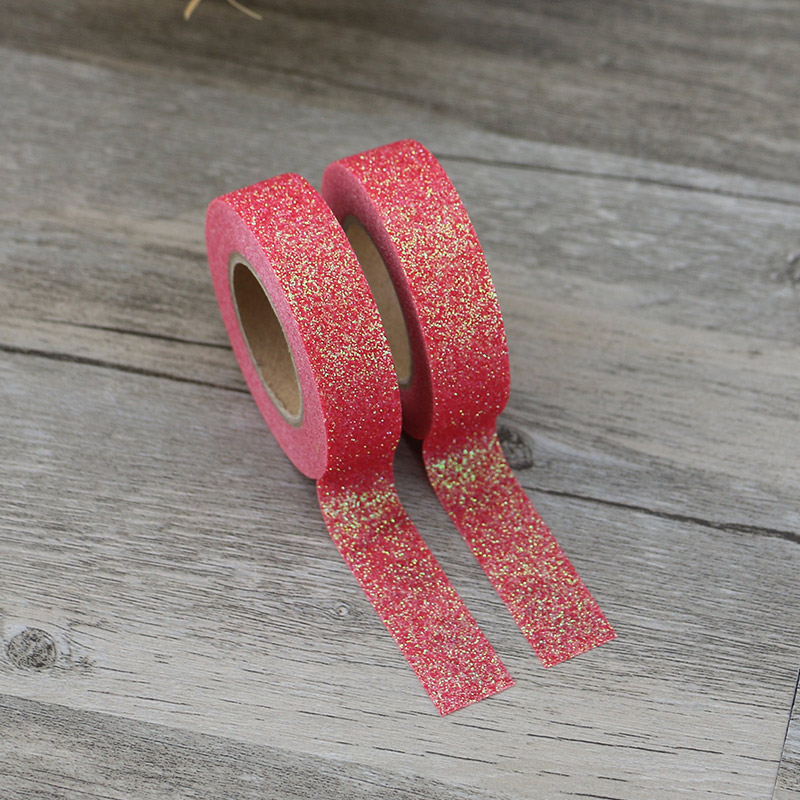 1X Red Powder Glitter Washi Tape Japanese Stationery Scrapbooking Decorative Adhesive Tape Kawai Adesiva Decorativa
