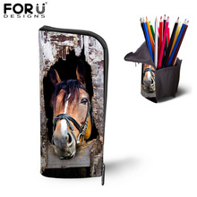 Hot Sale Stationery Pen Bags Pencil Case 3D Horse Animal School Office Supplies Pouch Estuche Lapices Bolsa Makeup Toiletry Bag