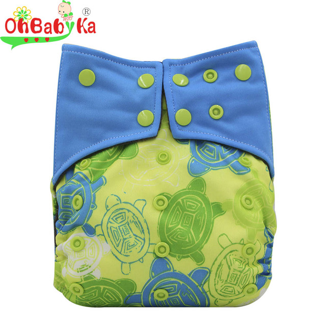 Ohbabyka brand Adjustable Reusable Baby Diapers Double Gussets Cloth Cover Waterproof Pocket  on AliExpress