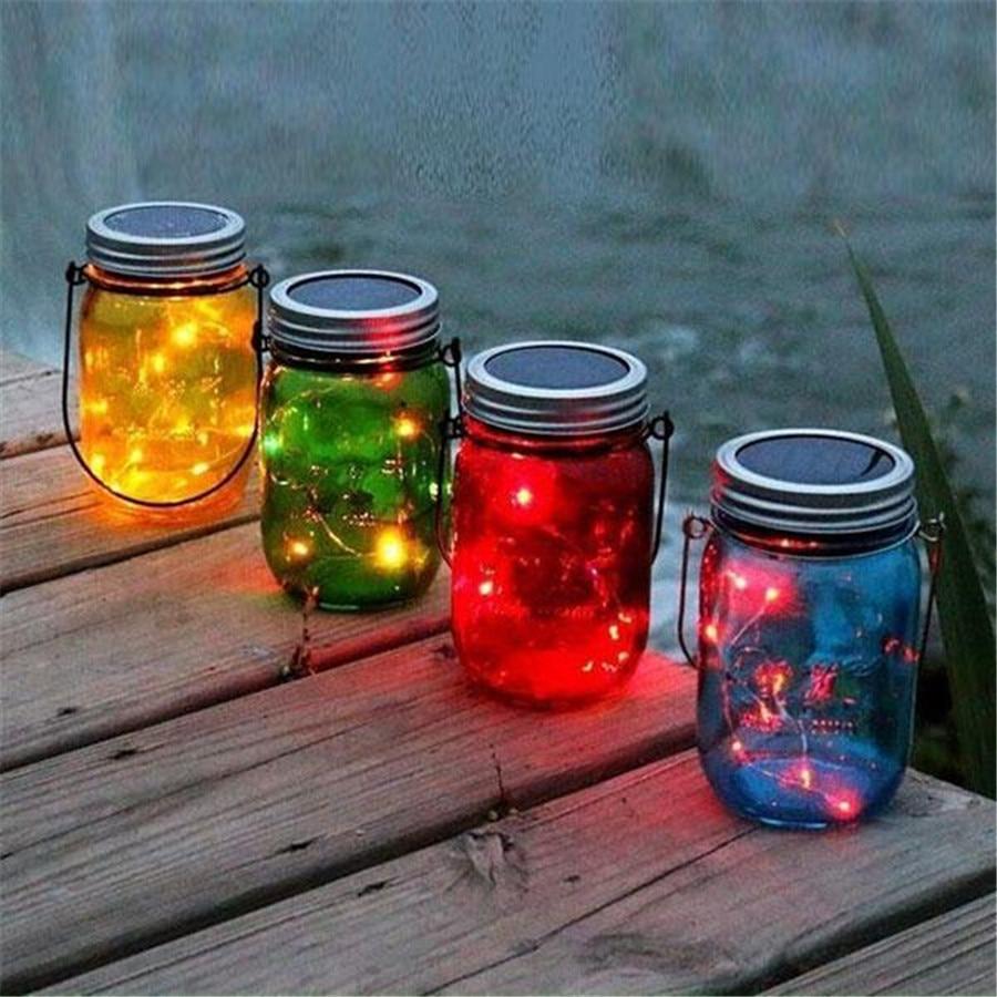 Hanging solar patio lights - Thrisdar 3pcs Lot Mason Jar Solar Garden Fairy Light With Mason Jar Lid Outdoor Solar