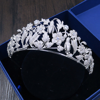 Micro Paved Cubic Zircon Tiara Zirconia Crown Bridal Headpiece Wedding Hair Accessories CZ Coroa Novia Bijoux Cheveux WIGO1121