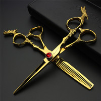 6.0/5.5 Golden Hair Salon Scissors & Thinning Scissors Hair Cutting Kits Stainless Steel Tools