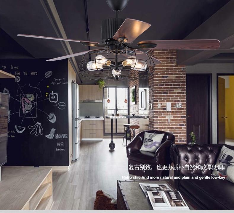 Loft industrial ventilador araña vintage restaurante tranquilo hogar LED control remoto ventilador araña luz del ventilador con control remoto